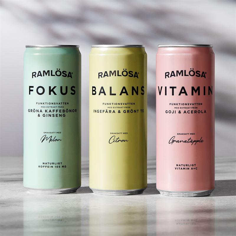 Ramlösa funktionsvatten i smakerna Fokus, Balans och Vitamin