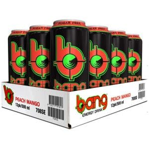 12 X Bang Energy Drink, 500 Ml, Peach Mango